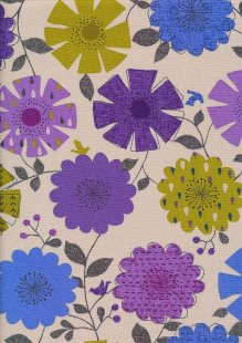 Cotton Canvas Print - Purple, Green & Blue Floral Sketch