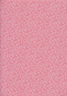 Poly Cotton Print - Ditsy Floral Vintage Pink
