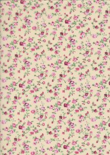 Poly Cotton Print - Rose On Cream