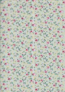 Poly Cotton Print - Rose On Sage