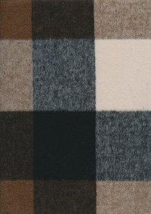 Wool Poly Check - Brown, Grey & Cream