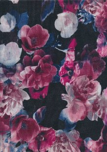 Lady McElroy Wool Touch Jersey - Pink Floral On Black