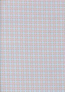 Cotton Spandex Sateen - Ditsy Blue Foral On Pink