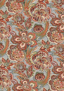 Spun Viscose Chiffon - Bold Orange Floral On Grey Blue