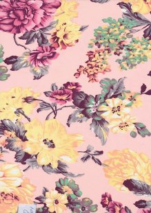 Lady McElroy Poly Georgette - Yellow Floral On Pink