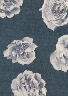 Lady McElroy Poly Chiffon - Grey Rose On Black
