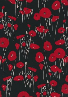 Polyester Hermione Georgette - Poppies On Black