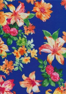 Poly Spandex Digitally Printed Jersey - Bright Floral On Royal Blue