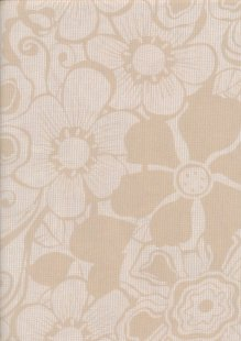 Cotton Lawn Large Floral - Cream