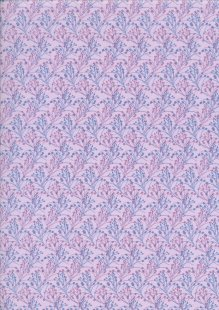 Clothworks Printed Cotton Lilac Purple Blue Linear Sprig - Y1600