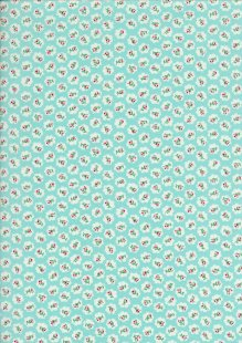 Quality Cotton Print Turquoise Floral Cloud - Col 5
