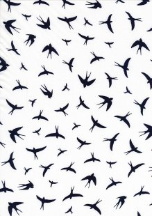 Creative Solutions Viscose - Swallows Navy on White