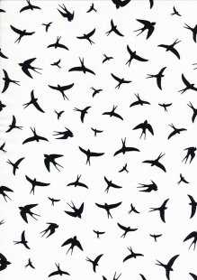 Creative Solutions Viscose - Swallows Black on White