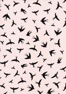Creative Solutions Viscose - Swallows Black on Pale Pink