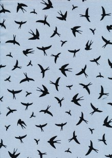 Creative Solutions Viscose - Swallows Black on Pale Blue