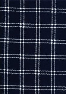 Brushed Cotton Check - Navy and White