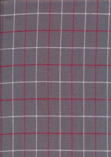Cotton Check - Grey Red White