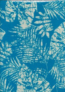 Viscose Turquoise and White Leaf