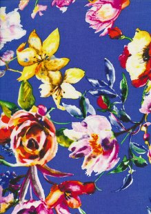 Rayon Print Royal Blue Digital Floral