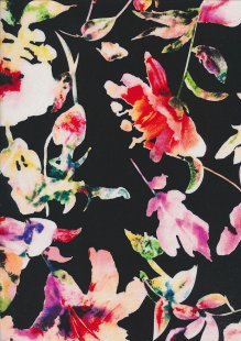 Rayon Print Black Digital Floral