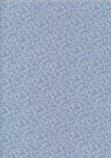 Poly/Cotton - Floral Ditsy Chambray Blue Design 18