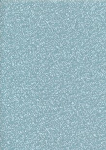 Poly/Cotton - Floral Ditsy Duck Egg Blue Design 19