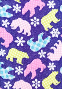 DOU Cuddle Fleece - Mauve Polar Bears