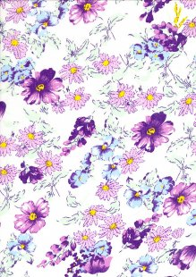 Poly Cotton - Floral Garden Purple