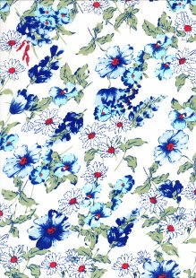 Poly Cotton - Floral Garden Blue