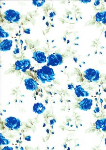 Poly Cotton - Climbing Rose Blue