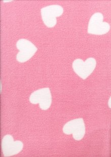Printed Fleece -  Pink Hearts