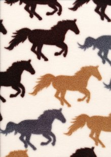 Printed Fleece -  Horse Cream FC7707