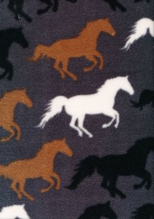 Printed Fleece -  Horse Grey C7707