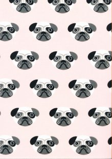 Poly Cotton Pugs Pale Pink