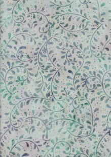 Extra Wide Bali Batik - Vines A19 Blue On Mint