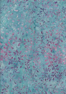 Extra Wide Bali Batik - Vines A19 Purple On Turquoise