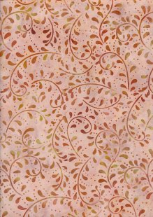 Extra Wide Bali Batik - Vines A19 Burnt Orange On Orange