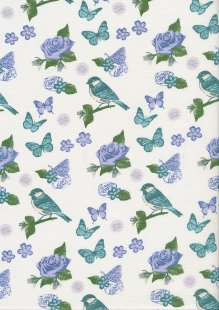 Fabric Freedom - Butterflies & Birds Collection FF242-2 CREAM