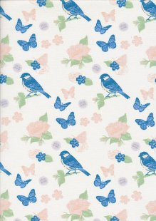 Fabric Freedom - Butterflies & Birds Collection FF242-3 CREAM
