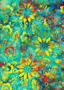 Fabric Freedom Bali Batik Stamp - Turquoise 157/a