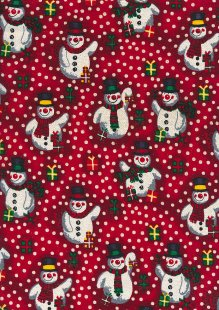 Fabric Freedom Traditional Gilded Christmas - Snowmen FF502-? Red