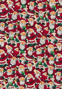Fabric Freedom Traditional Gilded Christmas - Santas FF501-1 Red