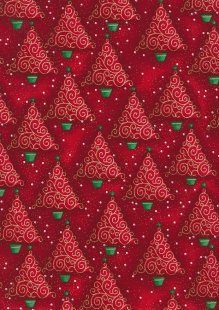 Fabric Freedom Traditional Gilded Christmas - Chrismas Trees FF503-3 Red