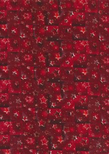 Fabric Freedom Traditional Gilded Christmas - Stars & Squares FF512-1 Red
