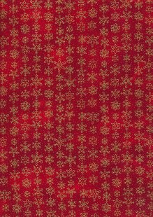 Fabric Freedom Traditional Gilded Christmas - Snowflakes FF509-3 Red