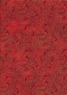Fabric Freedom Traditional Gilded Christmas - Paisley FF511-3 Red
