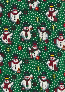 Fabric Freedom Traditional Gilded Christmas - Snowmen FF502-1 Green