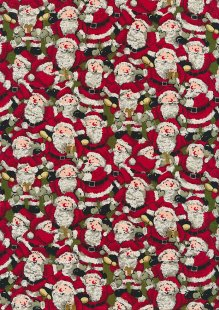 Fabric Freedom Traditional Gilded Christmas - Santas FF501-2 Green