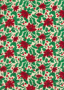 Fabric Freedom Traditional Gilded Christmas - Poinsettias FF507-4 Green