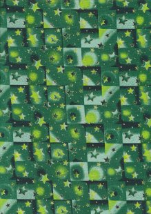 Fabric Freedom Traditional Gilded Christmas - Stars & Squares FF512-3 Green